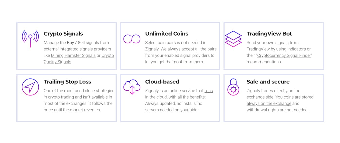 Services of Zignaly Crypto Trading Bot