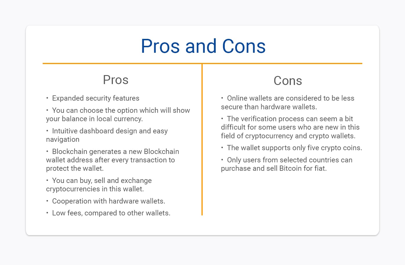 pros and cons of blockchain wallet