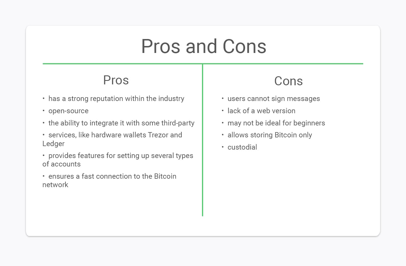mycelium wallet pros and cons